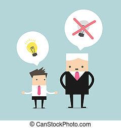 Boss tötet die Ideen.