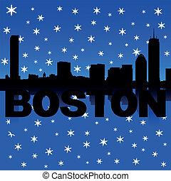 Boston Skyline Schnee Illustration.