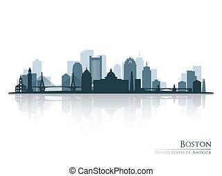 Boston, Skyline Silhouette mit Reflexion.