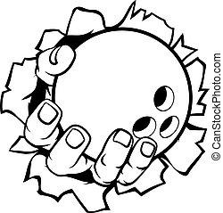 Bowling-Ball-Hand reißt Hintergrund