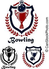 Bowling Sport Embleme und Ikonen.