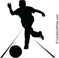 Bowlingsport-Vektor-Silhouetten.