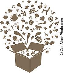 Box mit Restaurant-Ikonen