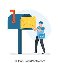 box., post, stellen, schulter, briefträger, mann, brief, tasche
