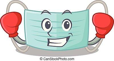 Boxen chirurgische Maske isoliert mit dem Maskottchen.