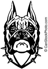 Boxer Hund Kopf schwarzweiß.