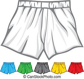 boxer, sammlung, kurze hosen