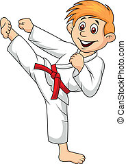 Boy Cartoon, der Kampfsport macht.