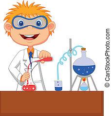 Boy Cartoon macht Chemie-Experiment.