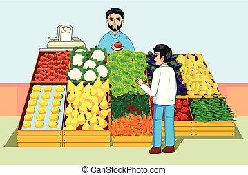 Boy kauft Gemüse und Obst auf dem Bauernmarkt.