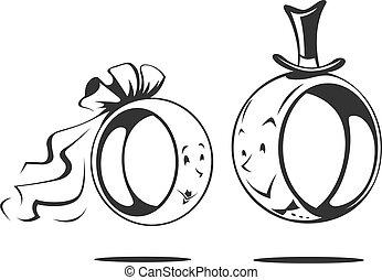 Bräutigam und Braut. Hochzeitsring