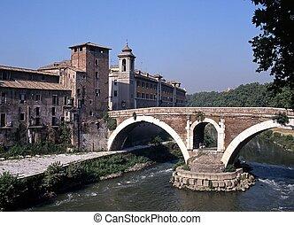 Brücke an Tiber Island, Rom.