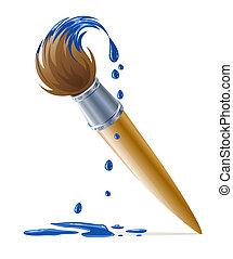 Brühe für die Malerei mit blauer Farbe