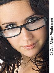 brünett, brille