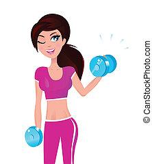 brünett, frau, sie, gewichte, anfall, hand, trainieren, schöne