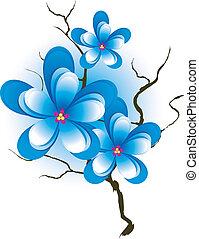 Branch mit rosa blauen Blumen