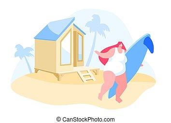 brandung, hütte, cluburlaub, sandstrand, m�dchen, stehen, junger, exotische , unter, handfläche, hintergrund., baum, sandig, brett, reisen, frau, zeichen, feiertage, karikatur, urlaub, sommer, abbildung, country., vektor, hände