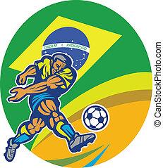 brasilianischer Fußballspieler tritt Ball Retro.