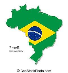 brasilien, landkarte, fahne, national