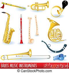 Brass Musikinstrumente.