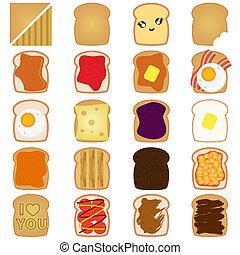 Braunbrot-Toast mit Marmelade, Ei