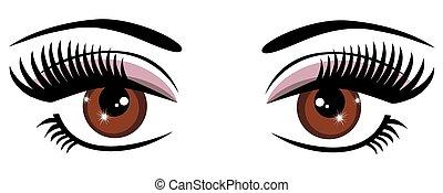 Braune Augen.