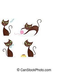 Braune Katzenserie in verschiedenen Posen 1