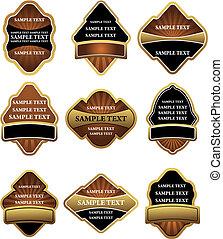 Braune und goldene Etiketten
