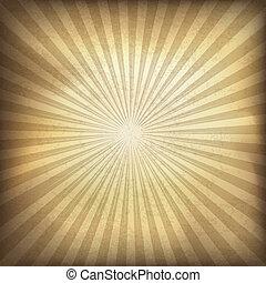 brauner, abbildung, eps10., hintergrund., vektor, retro, sunburst