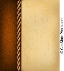 brauner, altes , illustration., weinlese, leather., papier, vektor, hintergrund