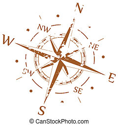 Brauner Grunge Vektorkompass