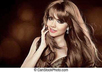brauner, hairstyle., lockig, langer, m�dchen, attraktive, hair., woman., lächeln glücklich