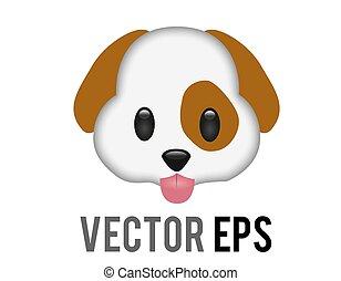 brauner, styled, zunge, hund, heraus, gesicht, hängender , ikone, weißes, vektor, karikatur