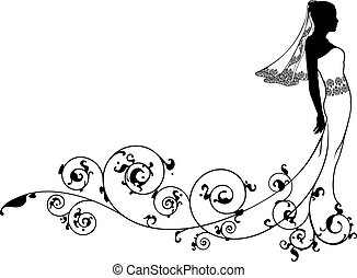 braut, mode, silhouette, wedding