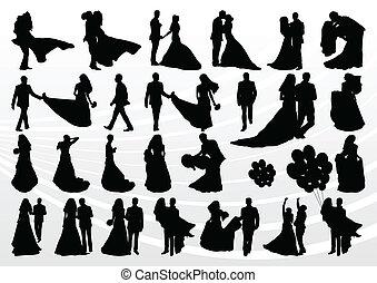 Braut und Bräutigam in Hochzeits-Silhouettes Illustrationssammlung