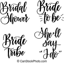 Braut zu Junggesellinnen-Party-Vektor Kalligraphie Design