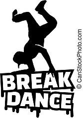 Breakdance mit Silhouette.