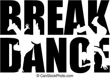 Breakdance Wort mit Ausschnitt Silhouette.
