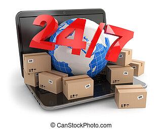 breit, 24/7, delivering., laptop., kästen, welt, erde