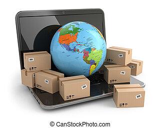 breit, delivering., laptop., kästen, erde, welt