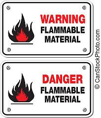 brennbar, material, warnung