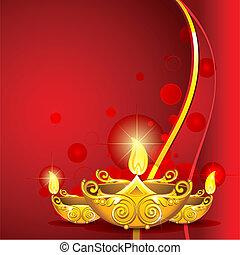 Brennende Diwali diya