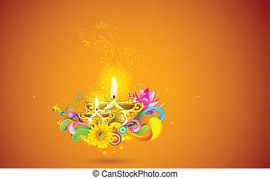 Brennende Diwali Diya.