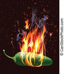 Brennender heißer Jelapeno-Pfeffer