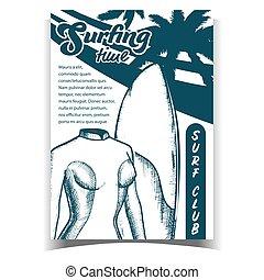 brett, frau, schwimmen- klage, banner, vektor
