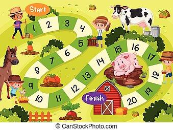 Brettspiel-Template Farm Thema.