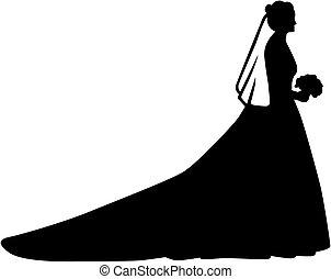 Bride Silhouette mit langem Zug.