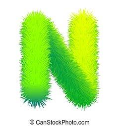 brief, beschaffenheit, n, vektor, dekorativ, alphabet, flaumig, pelz, uppercase., grün, design, grafik, freigestellt