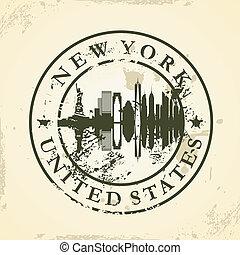 Brief mit New York, USA.