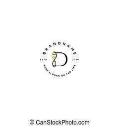 brief, vektor, d, logo, satz, dns, design